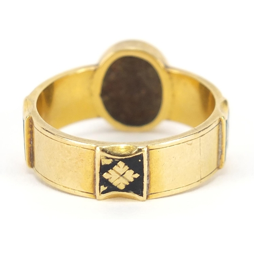 3023 - Victorian 18ct gold diamond, seed pearl and black enamel mourning ring, engraved E D Sept 4th 1884, ...