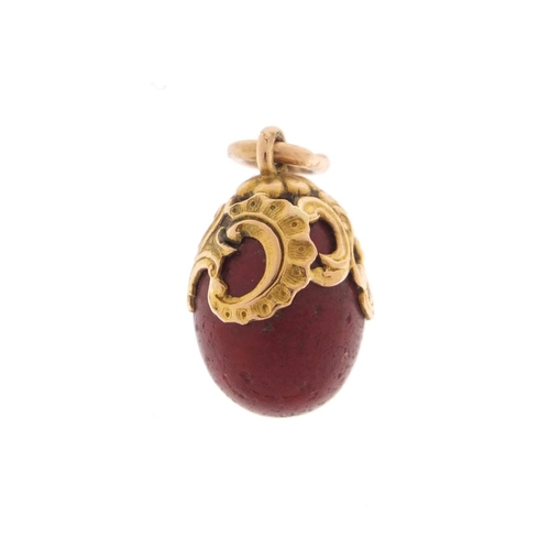 3022 - Fabergé 14ct gold mounted purpurine egg pendant by workmaster Henrick Wigström, impressed St Petersb...