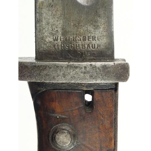 3420 - German military interest Butcher blade bayonet and scabbard by Weyersberg & Kirschbaum, numbered 17 ...