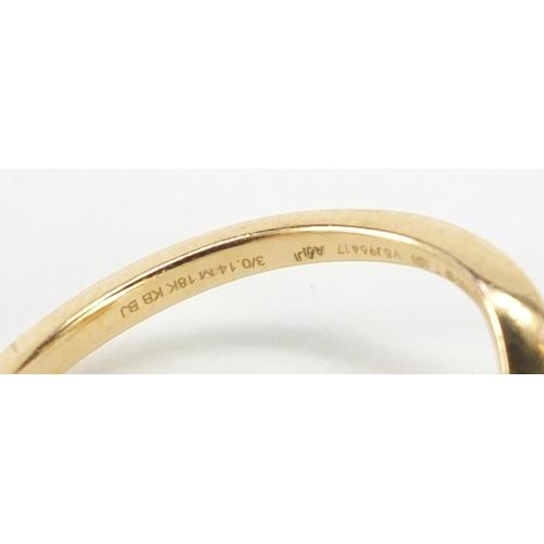 3427 - 18ct gold diamond three stone ring, size K, 2.2g...