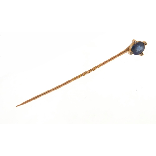 3319 - Art Deco unmarked gold sapphire and diamond tie pin, 6.5cm in length, 1.5g, housed in a tooled leath...