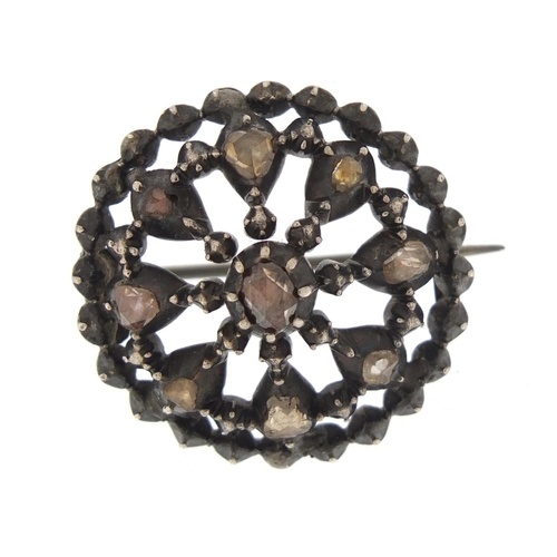 3024 - Georgian cut steel brooch, set with nine coloured diamonds, 2.5cm in diameter, 8.7g...