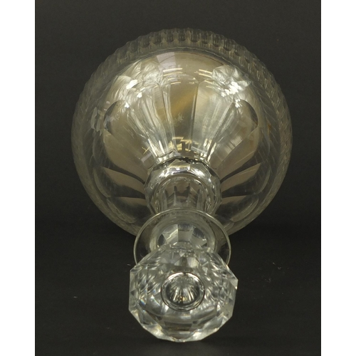 3053 - Victorian cut glass musical decanter with swiss music box playing two tunes, 30cm high...