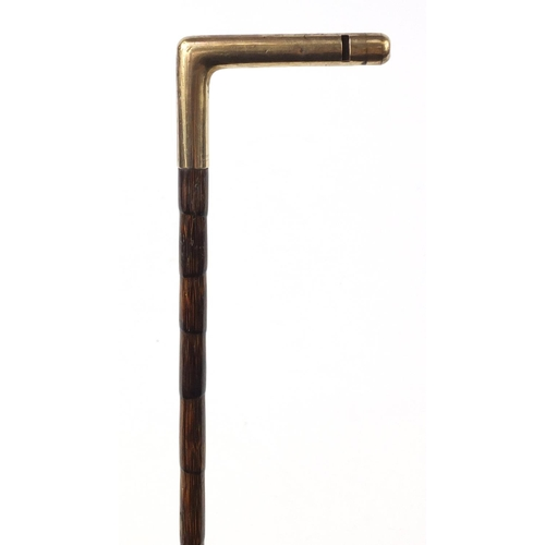 3009 - Good Edwardian 9ct gold whistle topped walking stick by J C Vickery of Regent Street, London 1906, r...