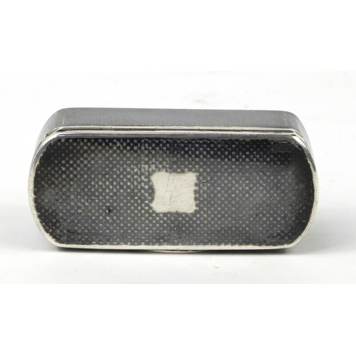 3019 - Russian silver niello work snuff box with hinged lid, NN maker's mark, 1867, 8cm wide, 83.6g...