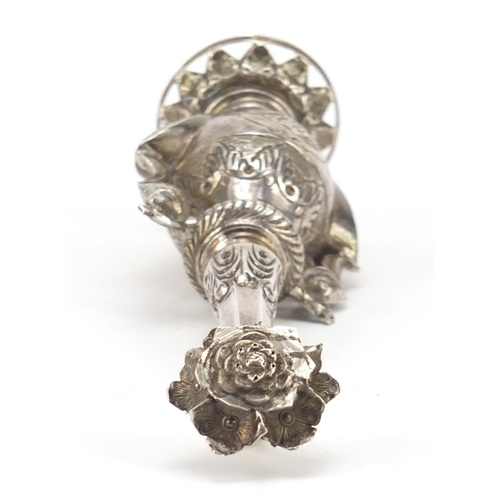 4135 - Anglo-Indian unmarked silver rosewater sprinkler with  mythical bird handles, 23.5cm high, 147g...