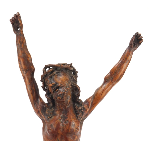 3004 - Good 17th century German school carved fruitwood Corpus Christi with crown of thorns, 37cm high...