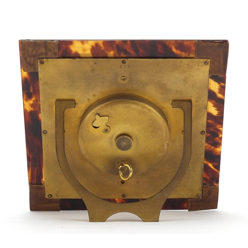 3977 - Art Deco eight day Swiss strut clock decorated in the chinoiserie manner with tortoiseshell frame, h...