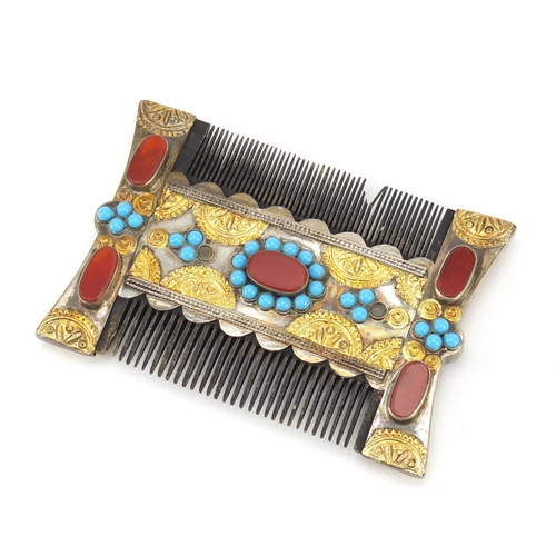4134 - Antique Byzantine type unmarked silver Crusader's comb inset with turquoise and agate, 10.5cm x 7cm...