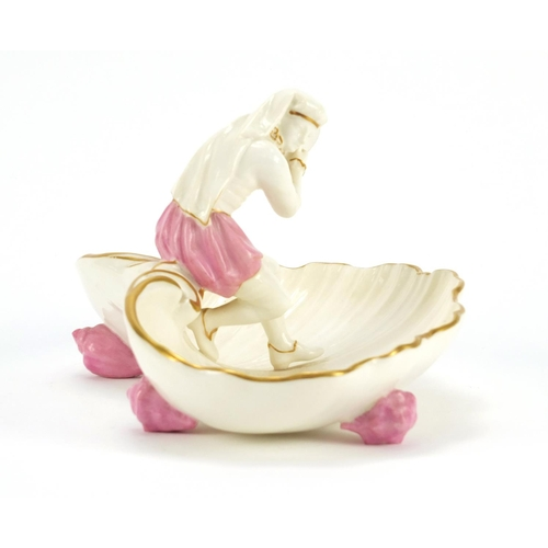 3044 - Victorian Worcester figural shell sweetmeat dish mounted with a girl holding a tambourine, 21.5 wide...
