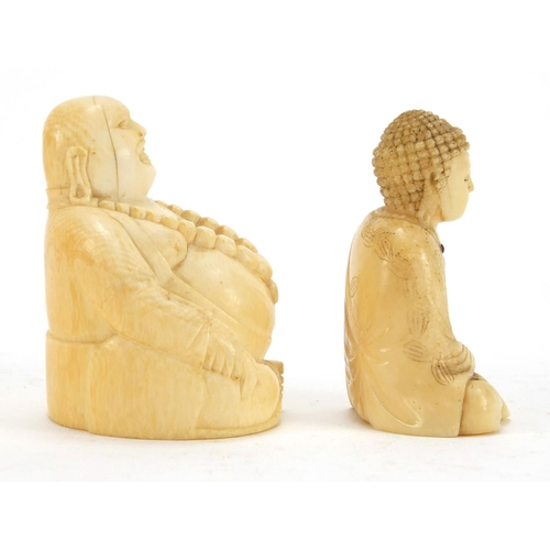 3035 - Two good Chinese ivory carvings of Buddha including one with Shibayama, the largest 7.5cm high...