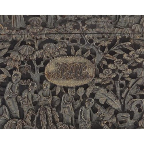 3033 - Exceptional Chinese Canton tortoiseshell card case, finely and deeply carved with figures crossing b...