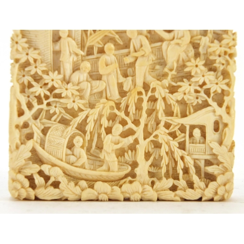 3034 - Exceptional Chinese Canton ivory card case, finely and deeply carved with figures crossing bridges a...
