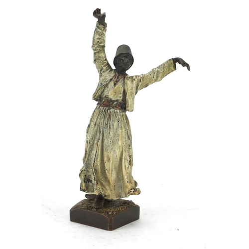3003 - 19th century Austrian cold painted bronze figure of a whirling dervish, probably by Franz Xaver Berg...