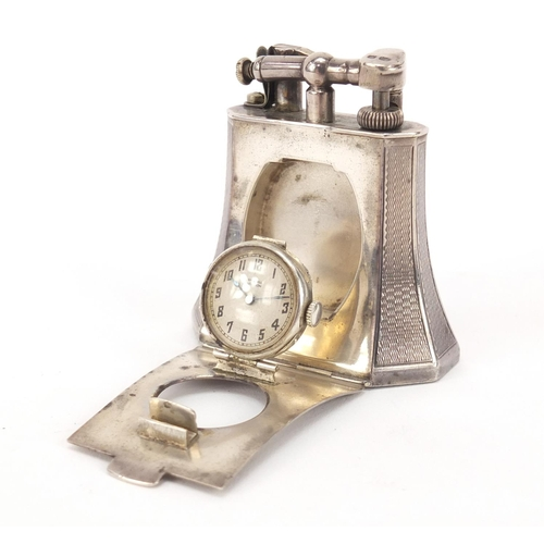 4022 - Art Deco silver table lighter with clock by Alfred Dunhill, London 1927, engraved Pat No 143752, 6.5...