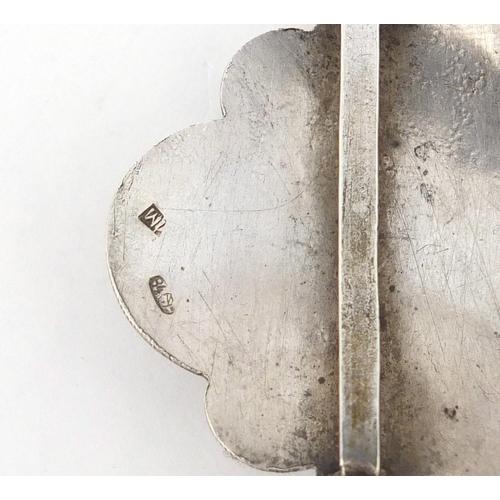 3021 - Russian Silver niello work buckle, indistinct kokoshnik mark, 6.7cm wide, 24.0g...