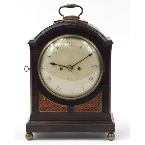 3057 - Regency mahogany bracket clock with twin Fusee movement, the circular dial with Roman numerals inscr...