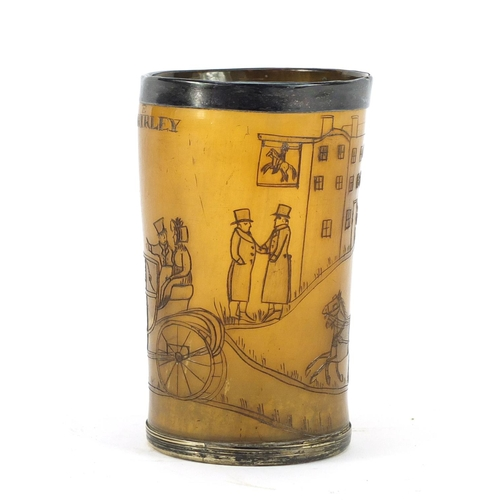 3006 - 18/19th century horn beaker with silver plated mounts, carved with a stagecoach scene, inscribed Jon...