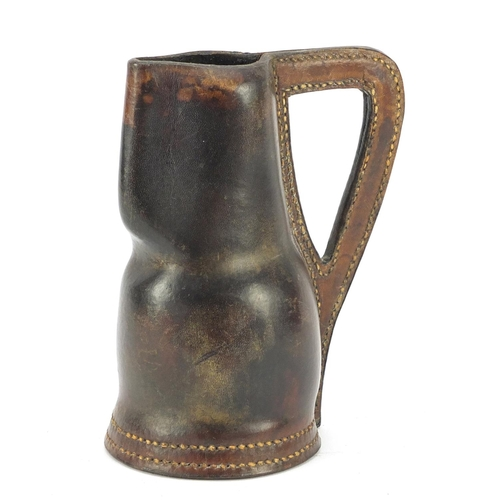 3176 - 18th century leather Black Jack jug, 15cm high...