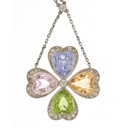3318 - Unmarked white metal, multi gem four leaf clover necklace, set with diamonds, sapphire, peridot, cit...