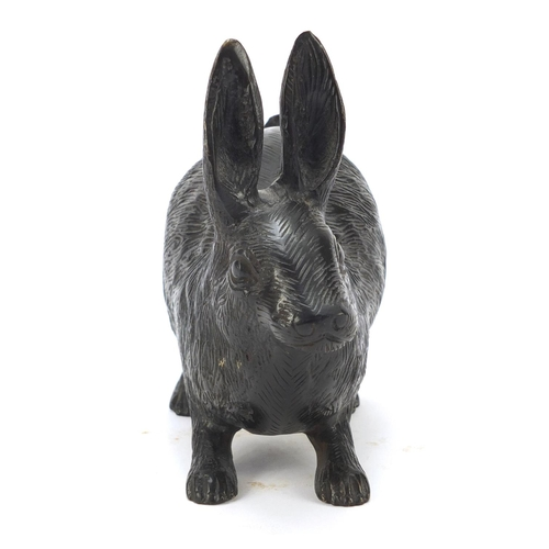 43 - Bronze study of a hare, 17.5cm in length...