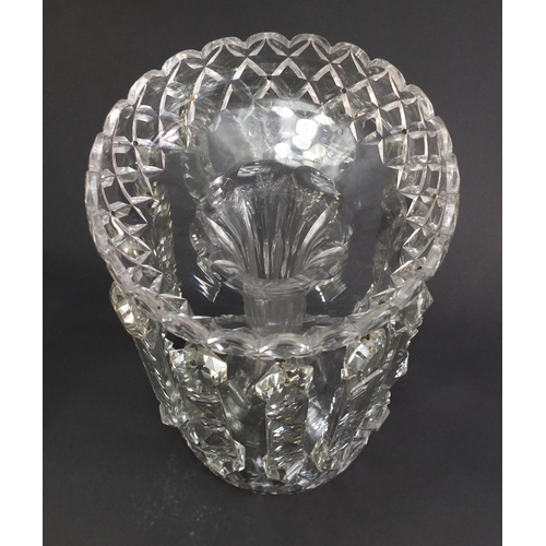 8 - Victorian cut glass lustre with drops, 30.5cm high...