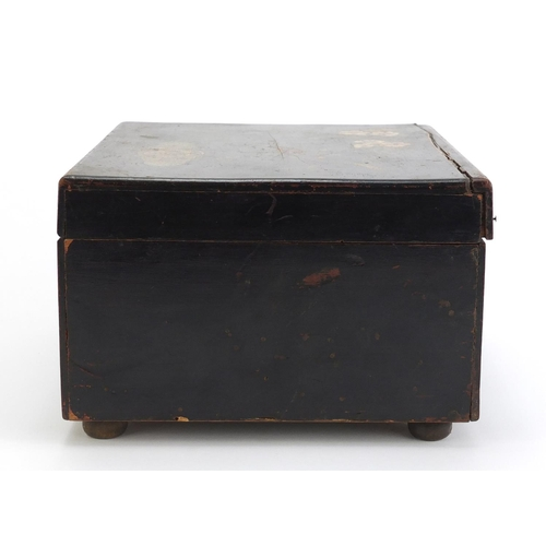 85 - Wooden cased 6 inch polyphone music box with fifteen discs, the top with hand painted floral pattern...