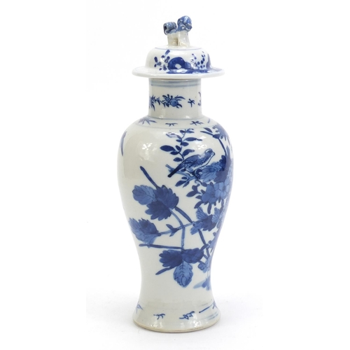 59 - Chinese blue and white porcelain baluster vase and cover, hand painted with birds amongst flowers, b...