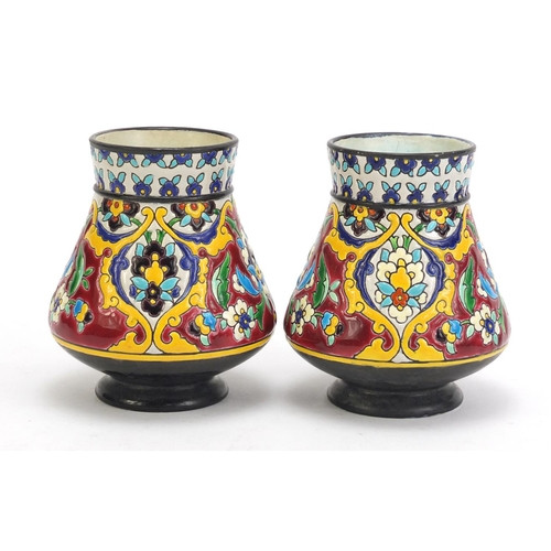 143 - Pair of French cloisonne enamel pottery vases by Jules Vieillard decorated in the Iznik style with f...
