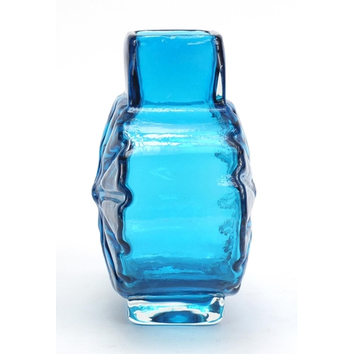 10 - Whitefriars sunburst glass vase in kingfisher blue designed by Geoffrey Baxter, 15.5cm high...