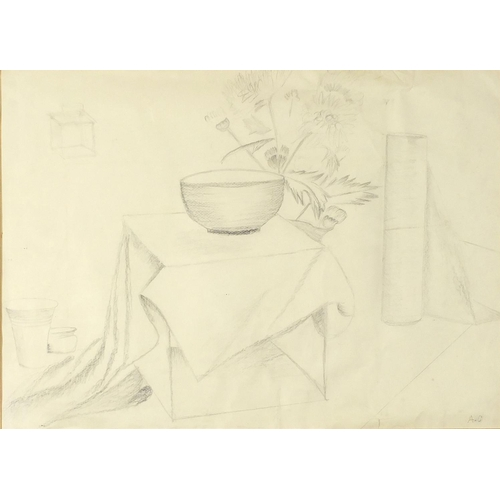 1203 - Still life, Modern British pencil, bearing a monogram AC, mounted, framed and glazed, 58cm x 40.5cm...