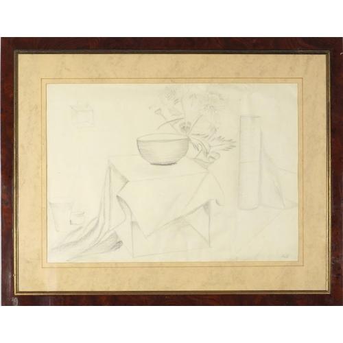1203 - Still life, Modern British pencil, bearing a monogram AC, mounted, framed and glazed, 58cm x 40.5cm...