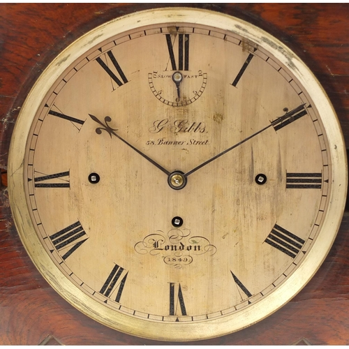 37 - Rosewood bracket clock with brass inlaid front, the silver dial for G.Gibbs 58 Banner Street London ...