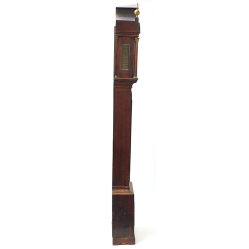 39 - Good 18th century mahogany pagoda topped grandfather clock, the brass dial with eagle crest and the ...