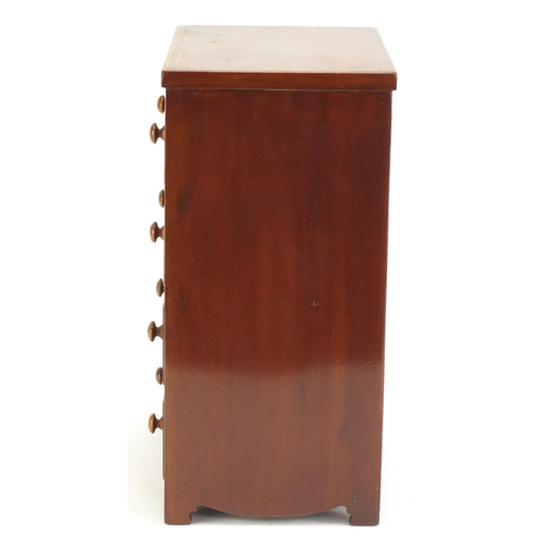 83 - Inlaid mahogany four drawer jewellery chest, 35.5cm H x 21.5cm W x 16.5cm D...