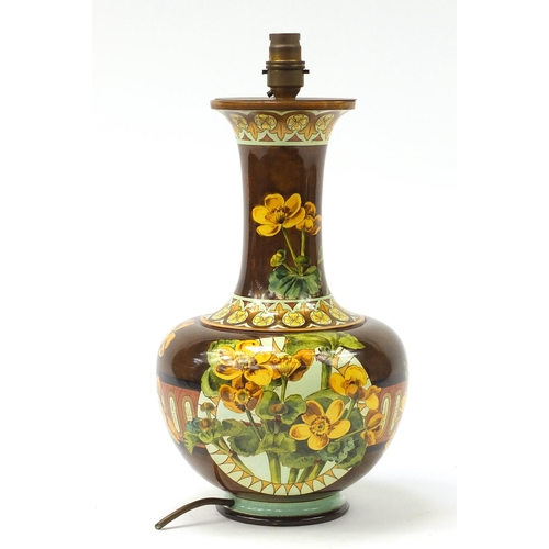 142 - Continental pottery vase converted to a lamp, hand painted with buttercups, numbered 2485, 39cm high...