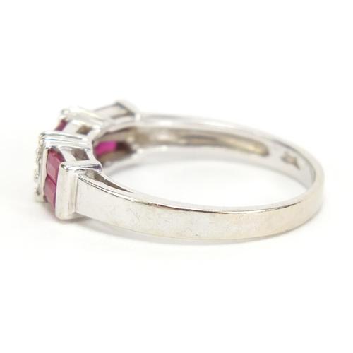 24 - 14k white gold diamond and ruby half eternity ring, size P, 3.3g...