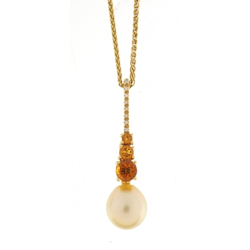 86 - 18ct gold Autore pendant, set with diamonds, citrine and pearl, 4.5cm in length, on a 9ct gold neckl...