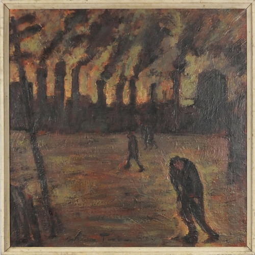 29 - Industrial town scene, Impressionist oil on canvas, bearing an indistinct signature, framed, 65cm x ...