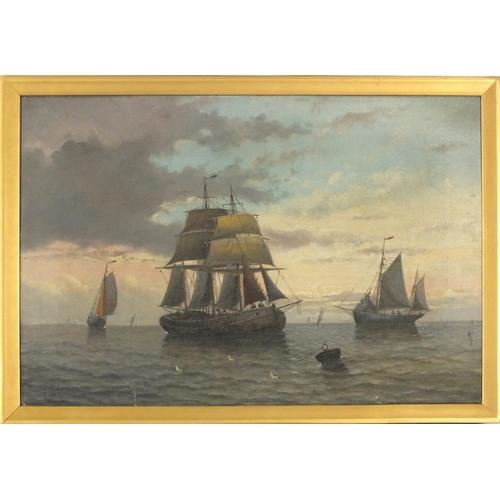 28 - Boats on calm seas, pair of 19th century marine oil on canvasses, each bearing an indistinct signatu...