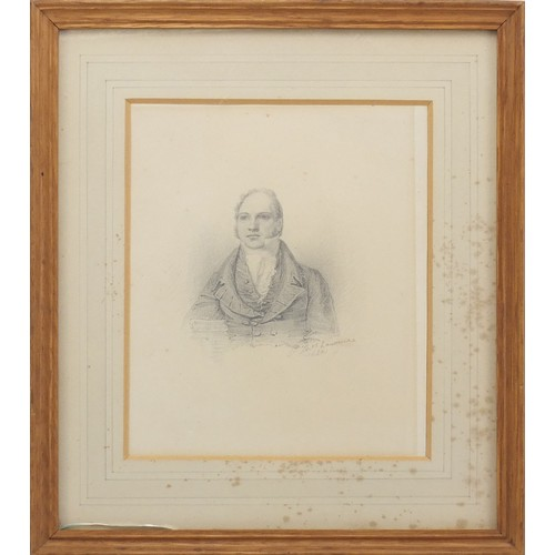 3028 - Sir Thomas Lawrence PRA FRS 1821 - Portrait of a gentleman, early 19th century pencil, mounted, fram...