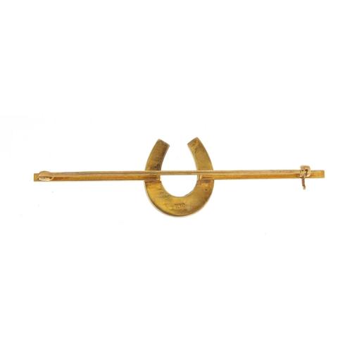 27 - 9ct gold horseshoe bar brooch, 7.5cm in length, 7.2g...