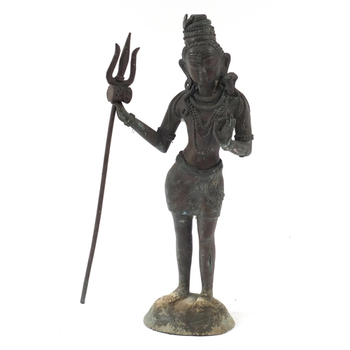 42 - Large Asian patinated bronze standing deity, possibly Burmese, 54cm high...