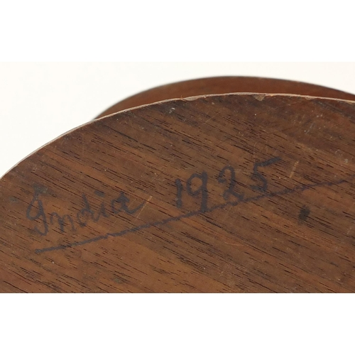 679 - Military interest WWI wooden bi-plane propeller box and cover, ink inscription India 1925 to the bas...