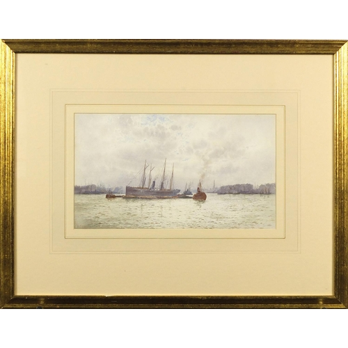 32 - Frederick Edward Joseph Goff - The Thames, watercolour, mounted, framed and glazed, 33cm x 19cm...