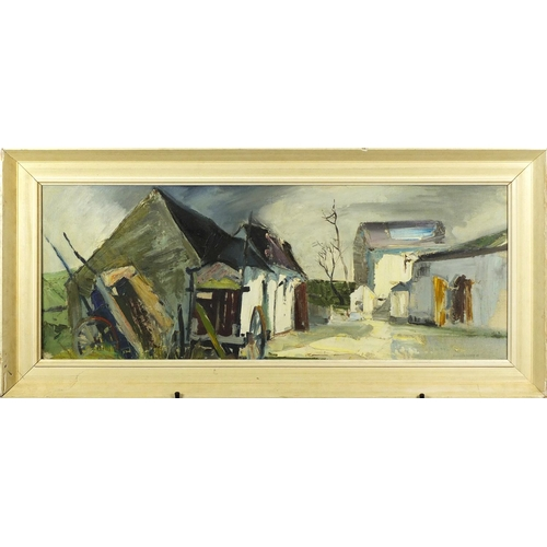 31 - Manner of Kenneth Webb - Town scene, oil on canvas inscribed Belfast and label verso, framed, 90cm x...