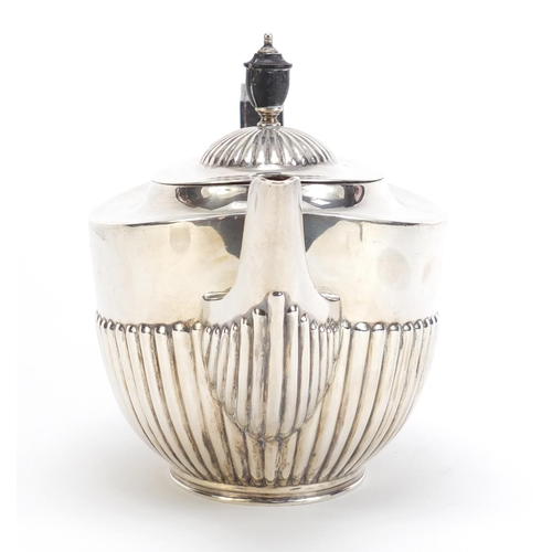 46 - Edward VII silver teapot with demi fluted body by William Hutton & Sons Ltd, Sheffield 1937, 28cm wi...