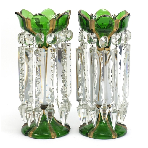 7 - Pair of 19th century Bohemian white overlaid green glass lustres with drops, each 31.5cm high...