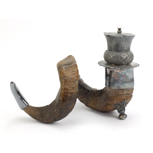 82 - 19th century horn table mull with silver plated mounts, 31cm in length...