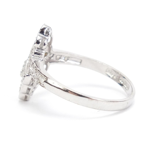 25 - 18ct white gold diamond cocktail ring, size P, 4.0g...
